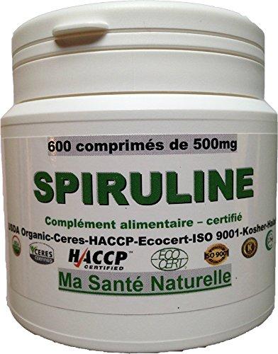 SPIRULINE-600 comprimés 500 mg-BIO-certifiée ECOCERT (France)-USDA Organic (Etats Unis)-Ceres (Allemagne)-HACCP-ISO 9001-Kosher-Halal