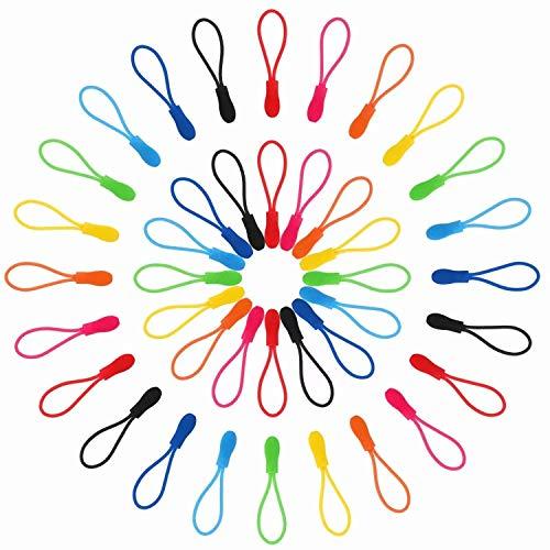 Reißverschlußanhänger,56 Pack Reißverschluss Verlängerung Zip Puller Reißverschlussverlängerung für Rucksack Schulranzen Kleidung Sportswear Nylon 28 Farben -