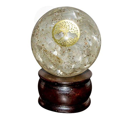 Crocon Selenit Energetische Sphere Ball Tree of Life Symbol Energie Generator für Reiki Healing Chakra Balancing & EMF Schutz Größe: 50–60mm