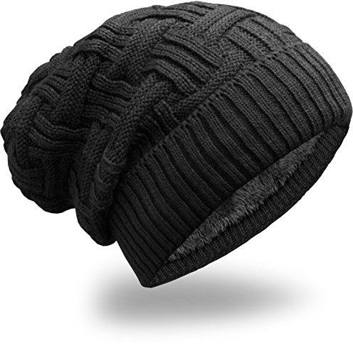 Grin&Bear Unisex Grobstrick Häkel Strick Mütze schwarz M20