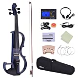 ammoon Violon Full Size 4/4 Solid Wood Électrique Silencieux Violon Fiddle Style-2 Ebony Fingerboard Pegs Chin Rest Tailpiece avec Bow Hard Case Tuner Casques Rosin Extra Strings and Bridge (bleu)