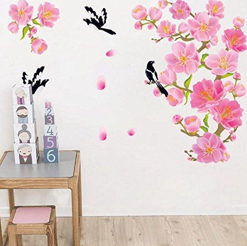 Madaye Peach Elster Blumen Wandaufkleber Wohnzimmer Schlafzimmer Dekoration Aufkleber