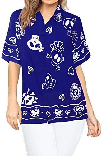 Damen Hawaiian Kostüm - LA LEELA Pumkin Scary Grusel Ghosts Witch Besen Party Festliche Schädel Happy Halloween kostüm Skelett Kürbis Teufel Blusen-Taste nach unten entspannt Frauen Hawaiihemd Urlaub Kurze Ärmel S Blau_W981