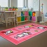 Kinder-Teppich Bambino Flachflor Modern Strichmännchen Herz Pink Kinderzimmer Größe 160/230 cm