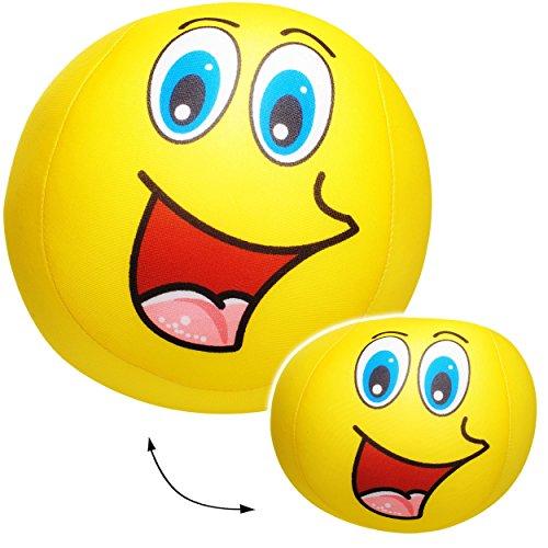 alles-meine.de GmbH 1 Stück _ große Knautschkissen / Stoffball / Knautschball -  lustiges Gesicht - GELB  - 18 cm - Softball - Emoticon Ball / Zenball - Plüschtier - mit Mikrop..
