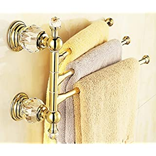 AUSWIND Antique Polished Gold Brass Towel Rack 3 Arms 14.17 Crystal Copper Finished Wall Mounted Bathroom Hardware by AUSWIND