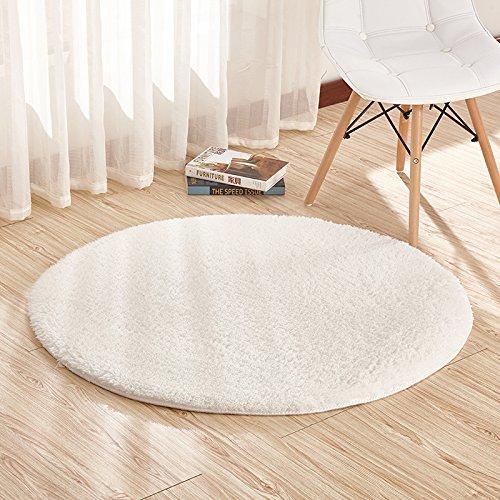 Runder, besonders weicher Teppich von Furnily für das Wohn- oder Schlafzimmer, 120cm Durchmesser weiß