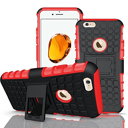 Apple iPhone 7Plus, Armor Case Tough Rugged Shock proof Armorbox Dual Layer Heavy Duty Carrying Hybrid Hard Slim Protective Case For iPhone 7 (with Kickstand) + Screen Protector-Black Red