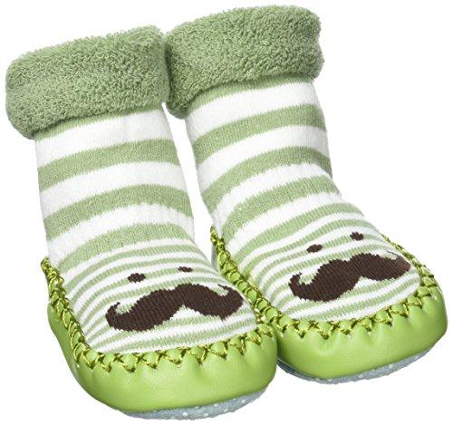Socquette Bébé avec Semelle Cuir Soft Chaussette Planche pour Automne Hiver Rose + Vert