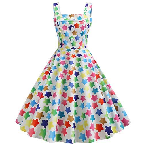 AIni Damen Vintage ÄRmelloses Elegant 50er Jahre Petticoat Kleider Gepunkte Rockabilly Kleider Cocktailkleider Partykleid Ballkleid Festkleid 70er Jahre Kleid Top