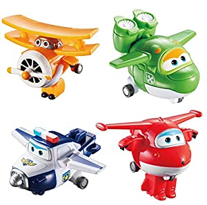 Alpha Animation & Toys 4Pk Super Wings Transform-A-Bots (Jett/Mira Aul/Grand Albert) Plane, Multicolor, Talla Única (Alpha Animation Toys YW710610)