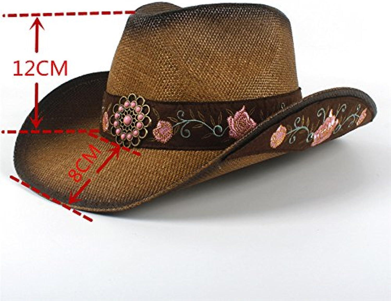 Fucaiqian Fiore Cappello con Cappuccio Cintura Fiore Fucaiqian Ricamato  Popolare Donna Cappello Western Cowboy Paglia Estate Elegante... Parent  94fc49 9fa849d54e1b
