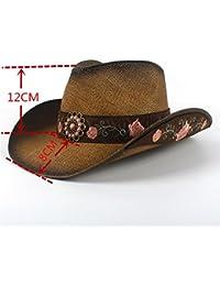 69893029ef96 XACQuanyao avec Mode Brodé Fleur Ceinture Cap Femmes Paille Western Cowboy  Chapeau D été Élégant