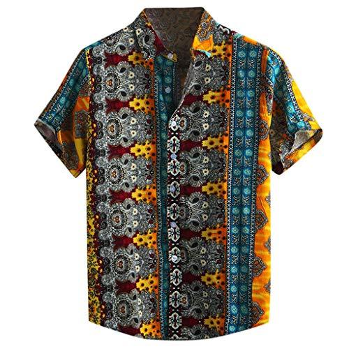 bluestercool_Männer Herren-Baumwolloberteil, Herren-Freizeithemden, Kurzärmliges Hemd aus unifarbener Baumwolle und Leinen, Retro-Hemden mit Rundhalsausschnitt