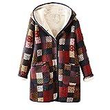 OIKAY Damen Mäntel Mode Warm Streetwear Winter Women's Warm Outwear Floral Print Hooded Pockets Vintage Oversize Coat(Rot,EU-36/M)