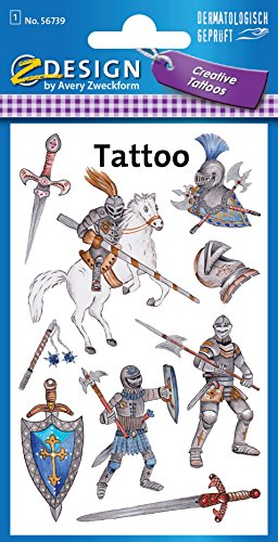 AVERY Zweckform 56739 Kinder Tattoos Ritter 9 Aufkleber