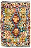 CarpetFine: Kelim Afghan Teppich 67x95 Multicolor - Geometrisch
