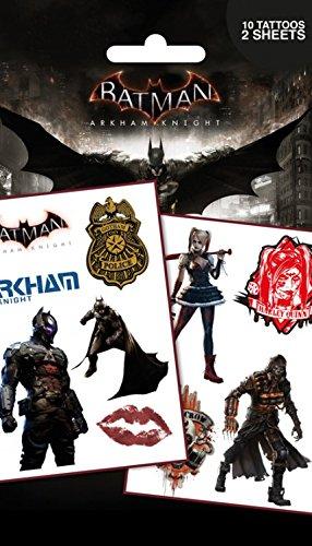 1art1 batman, arkham knight, personaggi, 10 tattoos set tatuaggi (17x10 cm) e 1 sticker sorpresa