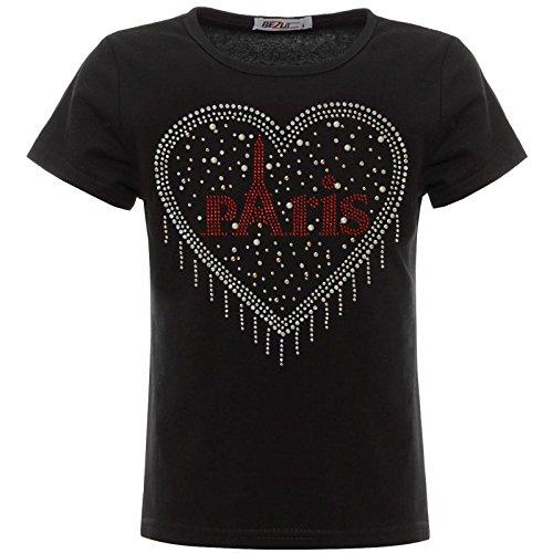 BEZLIT Mädchen T-Shirt Glitzer Herz Paris Kunst-Perlen Oberteil 22550 Schwarz 152