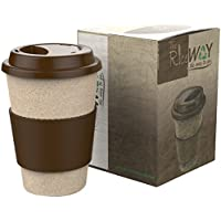 Tazza Mug Termica da caffè da asporto in stile americano, riutilizzabile e resistente, in pula di riso (organica, eco-friendly, isolante e priva di BPA), con coperchio salvagoccia e impugnatura in silicone, 400 ml