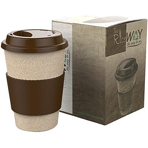 Eco TRAVEL MUG * Taza de café y Té * Reutilizable Biodegradable Resistente * Tazas de viaje de 400ml de Material Natural y Aislante + Tapa Antigoteo y Banda de Silicona