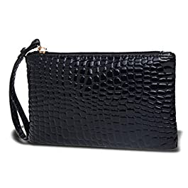 Huntgold x1 portafogli, borsetta, portamonete da donna con cerniera con texture alligatore (nero).