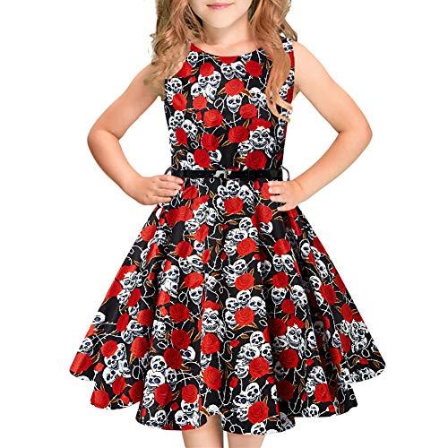 Idgreatim Mädchen Ärmellos Vintage Halloween Kleid Rockabilly Blumendruck Swing Party Kleider für Weihnachten