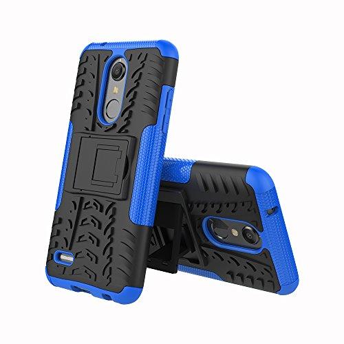 CMID LG K11 Hülle, LG K10 (2018) Hülle, Tough Rugged Handytasche [Heavy Duty] Dual Layer [Ständer] Hard PC und TPU Silikon Gummi Defender Schutzhülle Case Cover für LG K11 / LG K10 (2018) (Blau)