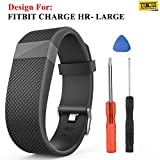 #3: Taslar® Silicone Replacement Adjustable Band Strap for Fitbit Charge HR Heart Rate,Large,(Black)