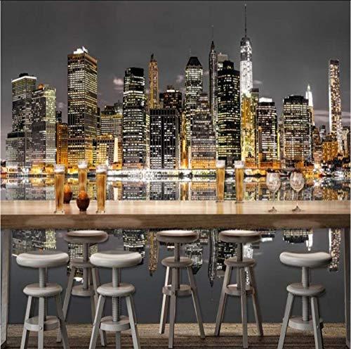 Hwhz Wallpaper 3D Benutzerdefinierte New York City Moderne Hochhaus Fotografie Hintergrund Wallpaper Restaurant Bar Einkaufszentrum WandbildF-250X175Cm