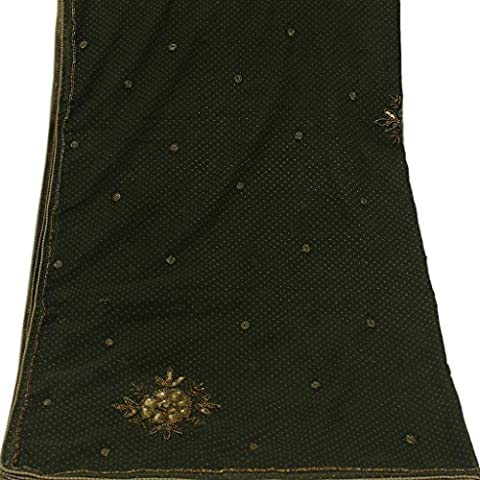 Vintage Dupatta Long Stole Hand Beaded & Embroidered Georgette Fabric Green