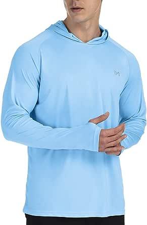 MEETYOO Men's Rash Guard, UPF 50+ Long Sleeve Shirt Rash Vest UV Sun Protection Top Swimming T Shirt for Running Surfing Hiking Sports