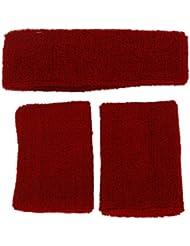 Conjunto de muñequeras y diadema contra el sudor, unisex rojo rosso
