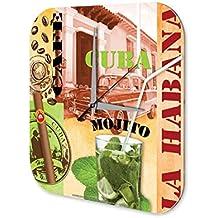 Reloj De Pared Trotamundos Marke Cuba La Habana Mojito Plexiglas Imprimido 25x25 cm