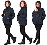 GoFuture Damen Tragejacke für Mama und Baby 4in1 Känguru Jacke Umstandsjacke Concordia Shell GF2070XI2 Marine mit rotem Kapuzenstoff Gr. 36