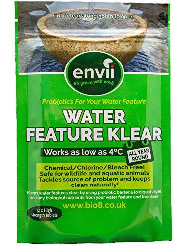 Envii Water Feature Klear – Algenmittel, Reiniger & Entferner für Springbrunnen und Wasserspiele, Einsatz bei bis zu 4°C – 12 Tabletten