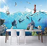 Rureng Custom Photo Wallpaper Large 3D Mural Wall Sticker Cartoon Underwater World Decorative Background Wall Mural-450X300Cm