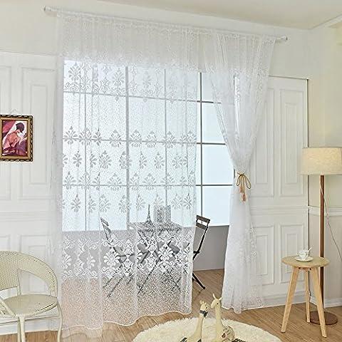 Moresave Fenstervorhang Dekoration Blumen Voile Gardinen Kräuselband, 195 x 250, Weiß