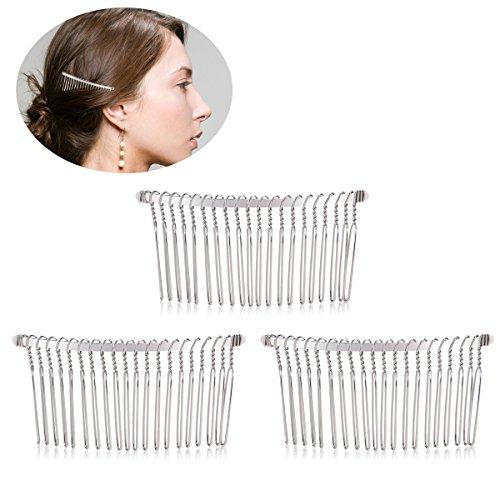 Tinksky Set di 3 pettinini per velo da sposa fai da te fil di ferro 78 20denti colore argento