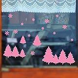 jiuyaomai Amovible Boutique en Verre Autocollant De Fenêtre Ménage Chambre Stickers Muraux Arbre De Noël Flocon De Neige Sticker Mural pour Home Window Stickers42x62cm
