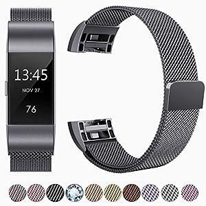 HUMENN Für Fitbit Charge 2 Armbänder, Luxus Milanese Edelstahl Handgelenk Ersatzband Smart Watch Armbänder mit Starkem Magnetverschluss für Fitbit Charge 2, Small Weltraum Grau