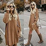 iHENGH Damen Winter Warm Bequem Pullover Mantel Lässig Mode Frauen Solide Oansatz Tasche Lange Langarm Lässige Lose Jacke Coat(Khaki,S) Vergleich