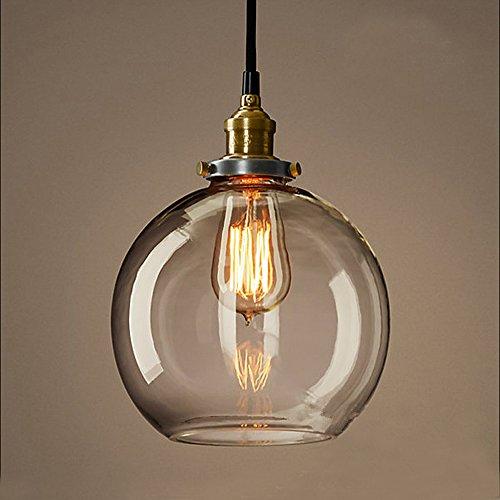 MZStech Vintage Glas Pendelleuchte Kronleuchter Licht LED Hängelampe (Grau)