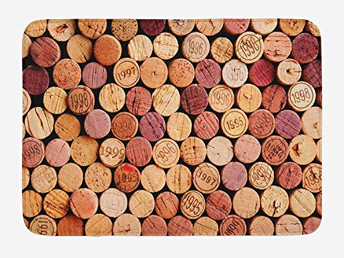 ASKYE Wine Bath Mat, Random Selection of Used Wine Corks Vintage Quality Gourmet Taste Liquor, Plush Bathroom Decor Mat with Non Slip Backing, 23.6 W X 15.7 W Inches, Mustard Mauve Maroon -
