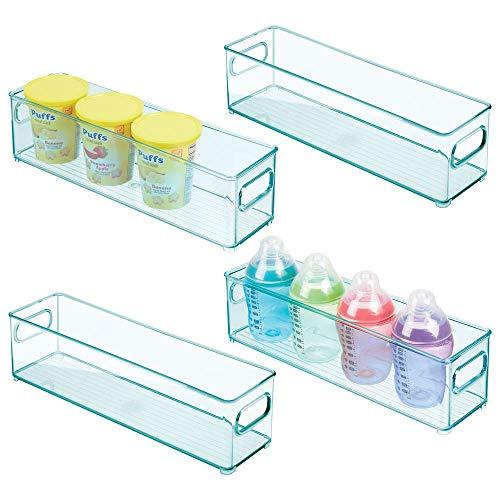 mDesign 4er-Set Kinderzimmer Organizer - schmale Sortierbox mit praktischen Griffen - BPA-freier Kunststoffbehälter für Spielzeug, Windeln, Stofftiere & Co. - hellblau