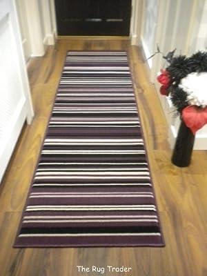 Modern Stripe Rug Purple Black Hall Runner 60cm x 220cm