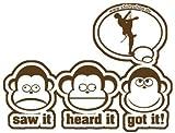 DIE DREI AFFEN - SAW IT - HEARD IT - GOT IT! - KLETTERN BERGSTEIGEN CLIMB freeclimbing Aufkleber Autoaufkleber Sticker Vinylaufkleber Decal