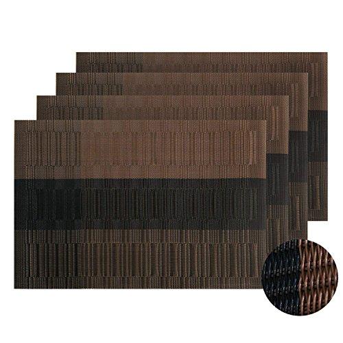 Schwarz-kaffee-tisch-set (XZANTE PVC Tischsets Woven Vinyl Waschbare Tischsets Fleckenresistente Waschbare Tischsets Tischsets Fuer Tisch Set von 4 Kaffee und Schwarz)