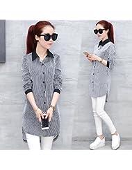 Primavera y terciopelo camisa suéter de la mujer manga larga largo base más en la versión coreana de las señoras camisas de Joker,M,Primavera de rayas