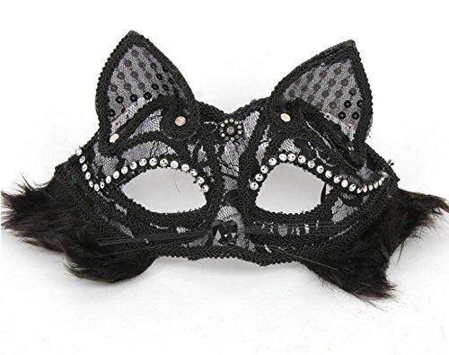 ode Sexy Spitzen Katze Augen Maske Masquerade Mask für Halloween Maskentanzabend Party Foto Zubehör (Schwarz) (Katze Halloween Kostüme Für Kinder)